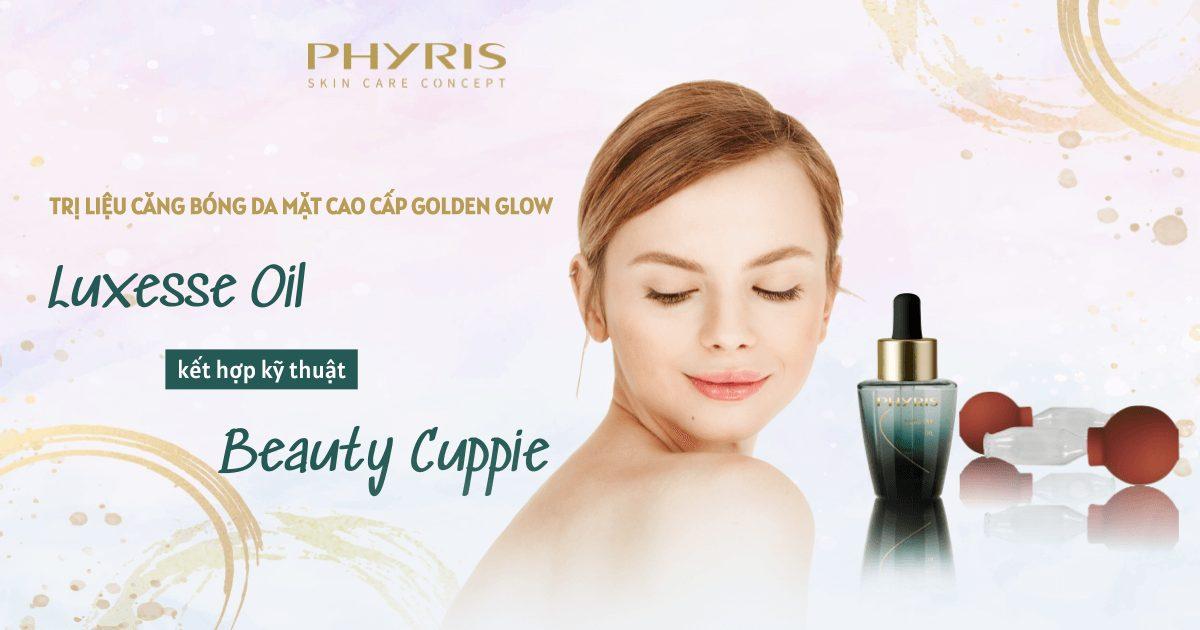 Sản phẩm Luxesse Oil kết hợp với kỹ thuật Beauty Cuppie trị liệu chăm sóc da chuyên sâu.