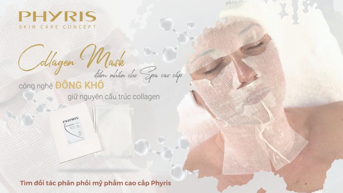 Mặt nạ chăm sóc da mặt collagen thiết kế tấm lưới định hình từ lụa tơ tằm.
